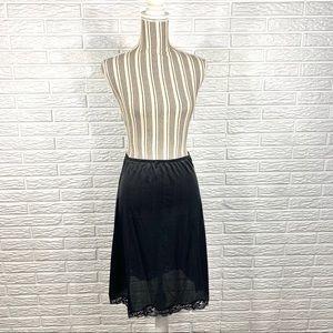Vintage Black Satin Midi Skirt Slip